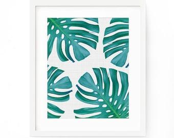 Monstera Print, Monstera Poster, Tropical Palm Print, Monstera Leaf Wall Art, Palm Leaf Print, Monstera Leaf Print, Tropical Print