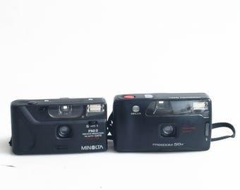 35mm Point and Shoot Camera Set of 2 Minolta Freedom 50n & Minolta F50II