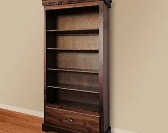 Large rose carved bookcase woodworking plan with drawer.