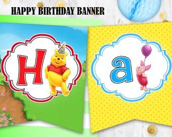 Winnie the Pooh Birthday banner bunting Printable digital banner