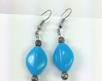 Aqua blue earrings with silver studs #53