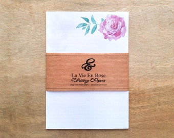 Eco-friendly La Vie En Rose luxury writing paper set with envelopes
