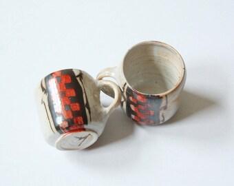 VINTAGE CERAMIC MUGS – Retro style ceramic mugs – Pottery mugs – Coffee mugs