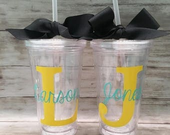 Block Letter and Name Tumbler Personalized