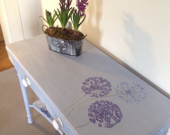 Louis Blue and Old White Annie Sloan Chalk Painted/Waxed Two Drawer Console Table with Hand Drawn Allium Floral Designs in Acrylics
