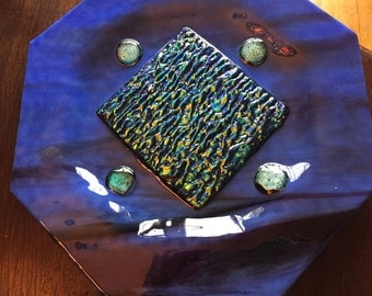 Fused glass blue dichroic dish