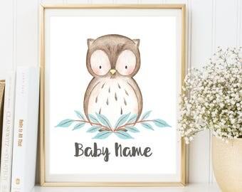 Woodland Animals, Woodland Nursery Decor, Personalised Name Print, Owl Nursery Decor, Owl Print, Owl Nursery Wall Art, Baby Room Wall Art