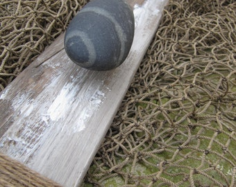 Beach Stone & Weathered Wood Coat Rack l Rustic Coat Rack