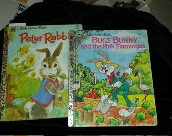 Sale Reduced - 2 Vintage Little Golden Books - Peter Rabbit - Bugs Bunny & Pink Flamingos,  1980s, Easter basket idea