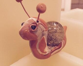 Steampunk Snail Shelf Sitter Happy Shelf Clay Creature Collectible