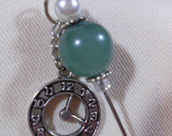 Stickpin with Antiqued Silver Clock Charm and Jade Bead