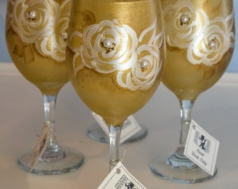 Hand Painted Gold Floral Wine Glasses(Set of 2)