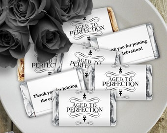 Aged to Perfection White - Birthday Party Instant Download - EDITABLE PDF, DIY Hershey Mini Candy Bar Wrappers, Printable Labels