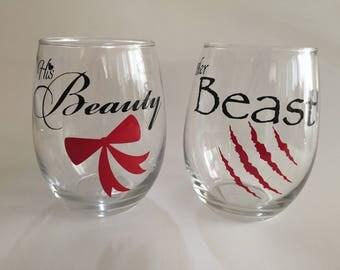 His Beauty / Her Beast Wine Glass Set
