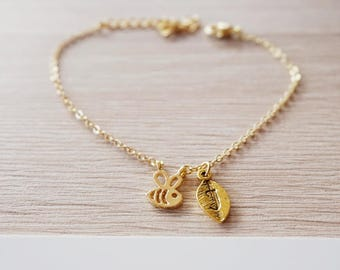 Bee - honey jewelry initial bracelet - gold plated
