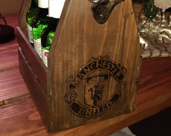 Custom engraved handmade beer caddy with personalized name on other side, great gift high quality construction