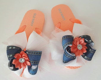Denim flip flops coral flip flops girls size 8/9 kids size 8/9