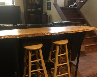 Live Edge Wood Tables, Live Edge Bar Sofa Console Table, Maple Wood Table Furniture Décor, Natural Wood Cabin, Industrial Style Furniture