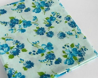 Vintage Blue Floral Cotton Crepe Fabric-Fabric Remnant-Floral Print Blue Flowers Green Stems and Leaves-Pale Aqua Background-Sewing Quilting