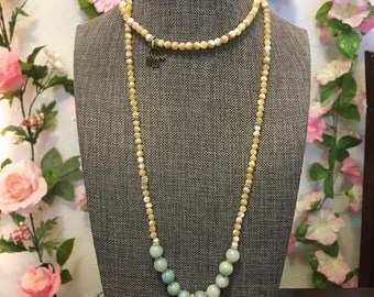 Beaded gold leaf necklace-handmade