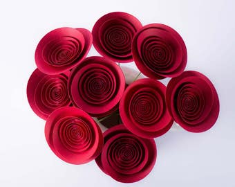 "Hand-made paper flowers - bouquet ""Red roses for you"""