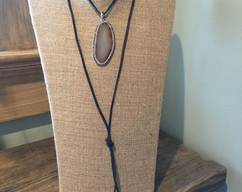 Deerskin leather lariat necklace with rhinestone adorned agate slice