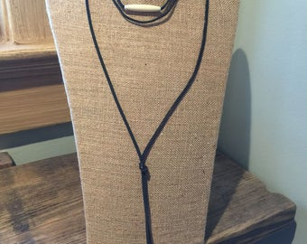Deerskin leather lariat necklace