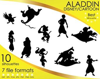 Aladdin magic carpet etsy for Aladdin and jasmine on carpet silhouette