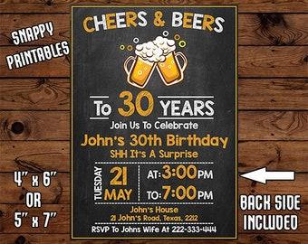 Surprise 30th Birthday Invitation For Men, Birthday Invite, Party Invite, Printable, Digital File - 030