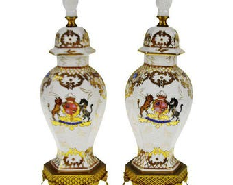 Pair of Vintage Hand Painted Ginger Jar Style Lamp Bodies