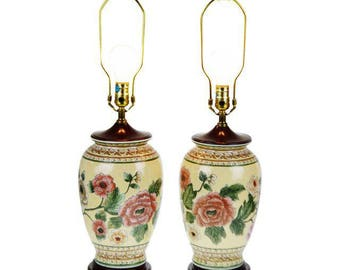Pair of Chinese Ceramic Ginger Jar Table Lamps