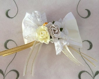 Ivory white satin ribbon rose lace bow barrette hair clip