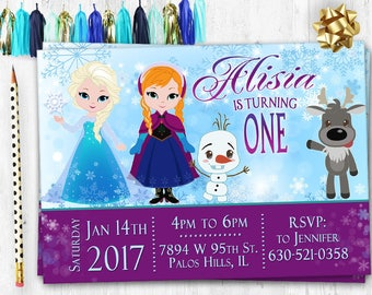Frozen Invitation Birthday card Elsa Birthday invitation card invite Digital printable Frozen invitation