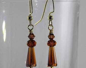 Clear brown faceted teardrops, Swarovski elements, gold wire, very petite dangle
