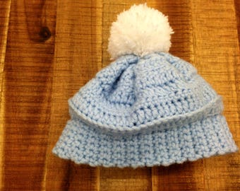Blue Crochet Hat with White Hat for Newborn