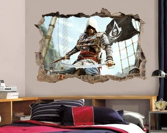 Assassins Creed Smashed Wall Decal Graphic Wall Sticker Art Hole H282