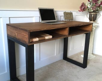 Mid Century Rustic Solid Wood Office Desk In Dark Walnut
