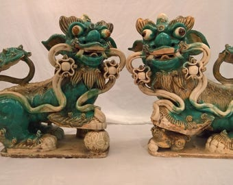 An Exceptional Pair of Vintage Chinese Ceramic Shishi Lions (Foo Dogs)