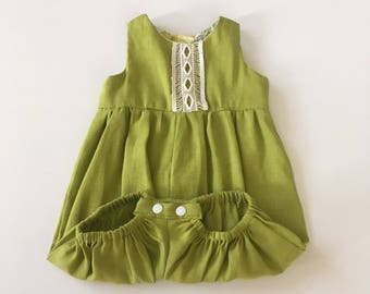 Lime green linen playsuit