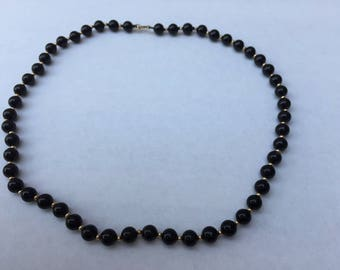 Vintage Black Small Bead Necklace