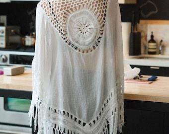 Summer ivory tassles kimono, frindge, Crochet back accent, sheer and soft