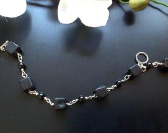 Black Onyx and black Agate beaded  Toggle clasp Bracelet