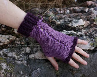 Purple Knitted Lace-Up Wrist Warmers
