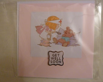 """Hand stamped and coloured Get Well Soon card. 6x6"""""""