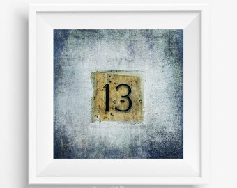 13th anniversary, printable photography, thirteen lucky poster, wish you luck, happy 13, thirteen birthday card, number photo
