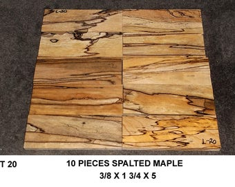 Lot 20 Spalted Maple Thin Wood 10 Pieces Knife Making Wood Wooden Jewelry Blanks Wooden Boxes Inlays Thin Lumber Thin Maple Boards