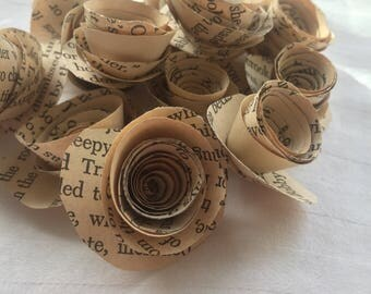 Book Page Roses- Set of 12