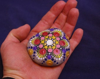 Mandala meditation focus stone, palm stone done in dot painting style