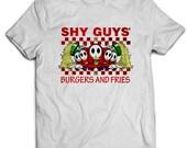 Nintendo Shy Guys Burgers and Fries Super Mario Gaming Unisex TShirt White Cotton