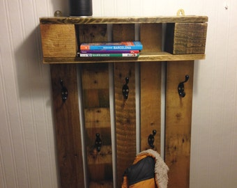 Handmade pallet wood coat hook and shelf
